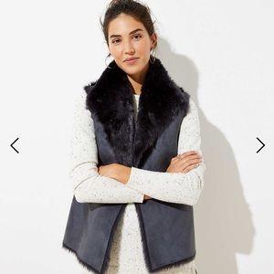 NWT LOFT reversible faux shearling vest black grey